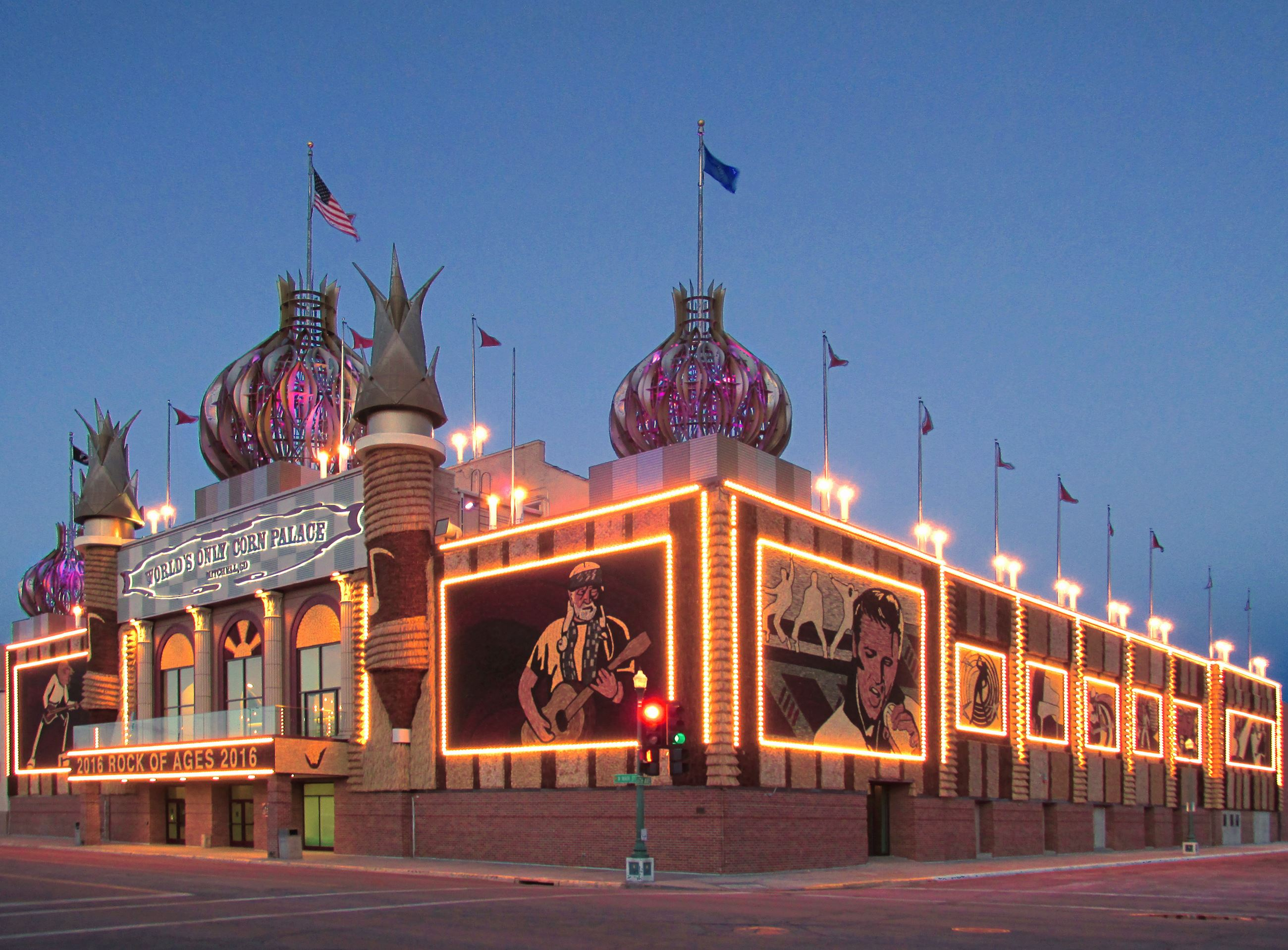 Corn Palace sunset magenta